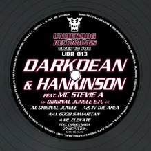 "Load image into Gallery viewer, ""Original Jungle EP"" Darkdean & Hankinson feat MC Stevie A & Carmen Naida Underdog Recordings UDR 013"