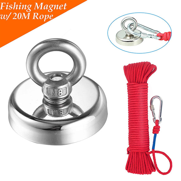 Fishing Magnet with Rope x 66ft 290LB (132KG) Pulling Force