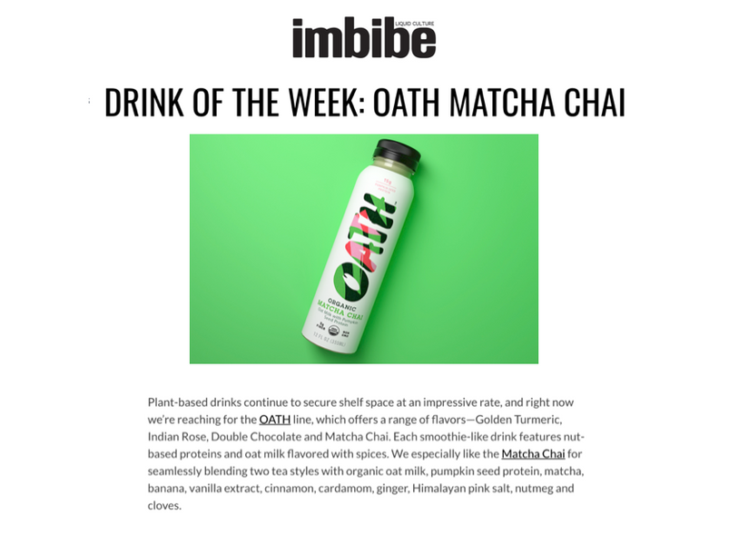 IMBIBE - DRINK OF THE WEEK: OATH MATCHA CHAI