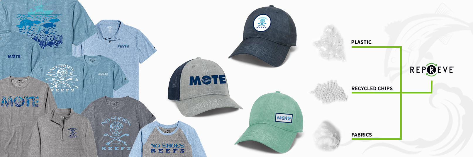 Plastic, recycled chips, and fabrics being used to make Repreve merchandise