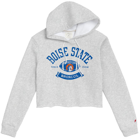 Boise State College Vault Women's Ash Grey 1636 Cropped Sweatshirt