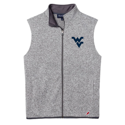 West Virginia Mountaineers Men's Heather Navy Saranac Full Zip Vest
