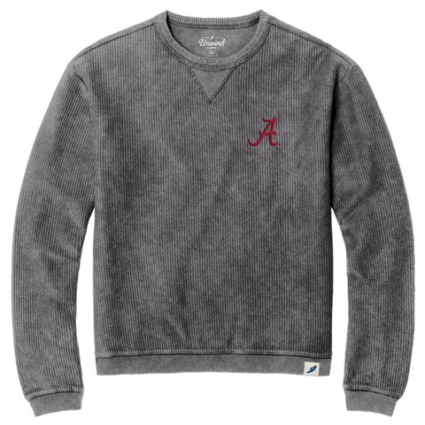 Alabama Crimson Tide Graphite Timber Crew Corded Sweatshirt