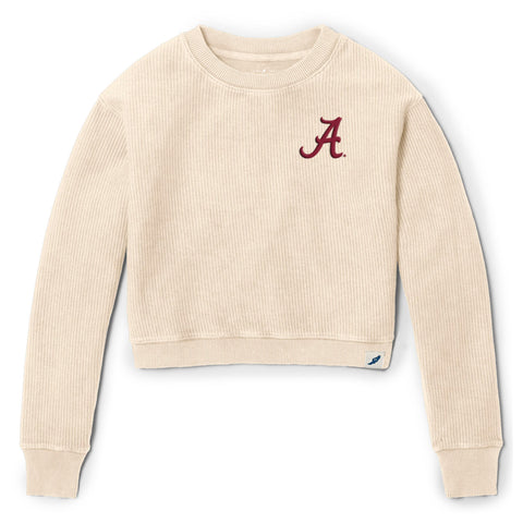 Alabama Crimson Tide Women's Vanilla Timber Crop Crew