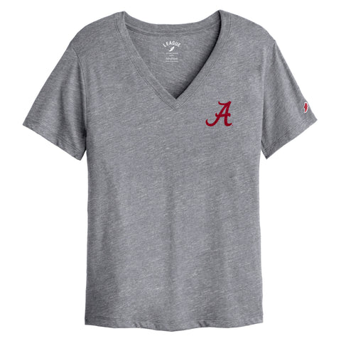 Alabama Crimson Tide Women's Heather Grey Intramural Boyfriend V Tee