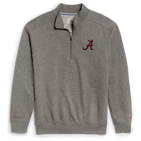 Alabama Crimson Tide Men's Heather Grey Heritage 1/4 Zip Sweatshirt