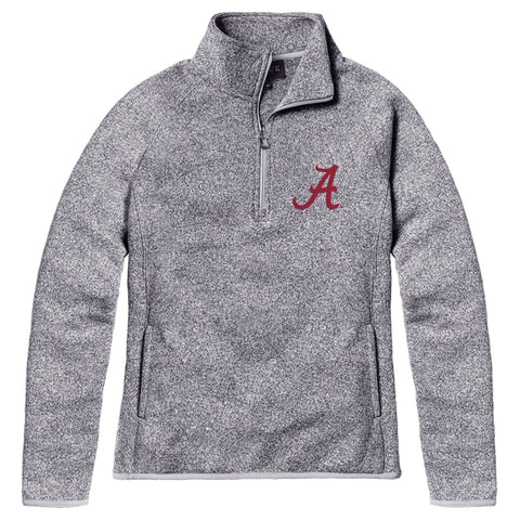 Alabama Crimson Tide Women's Heather Grey Saranac 1/4 Zip Sweater