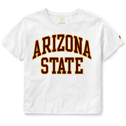 Arizona State Sun Devils Women's White Clothesline Cotton Crop Tee