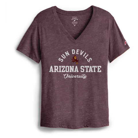 Arizona State Sun Devils Women's Heather Maroon Intramural Boyfriend V Tee