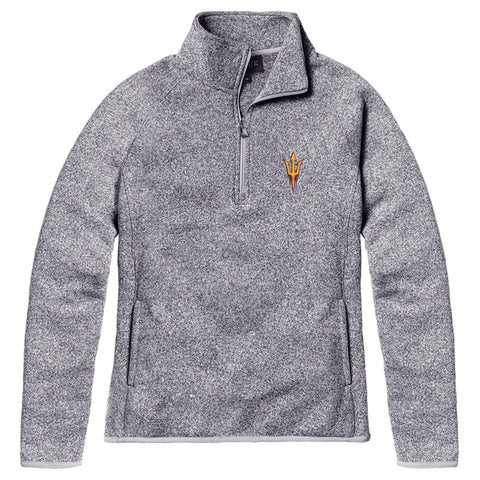 Arizona State Sun Devils Women's Heather Grey Saranac 1/4 Zip Sweater
