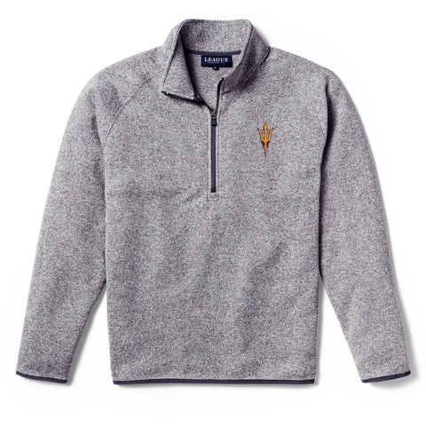 Arizona State Sun Devils Men's Heather Gray Saranac 1/4 Zip Sweater