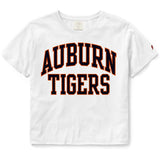 Auburn Tigers Women's White Clothesline Cotton Crop Tee