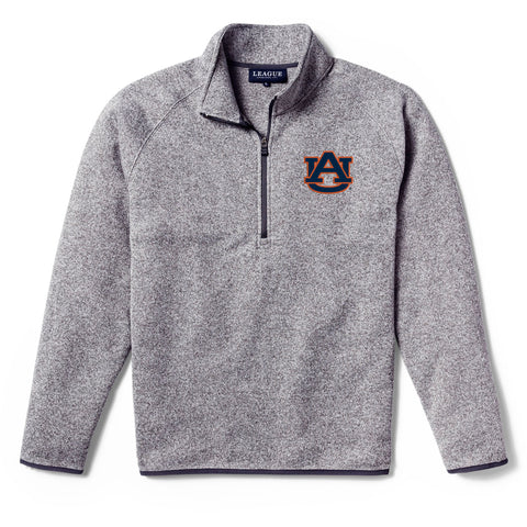 Auburn Tigers Men's Heather Grey Saranac 1/4 Zip Sweater