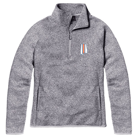 Samford + Donahue Women's Heather Grey Saranac 1/4 Zip Sweater