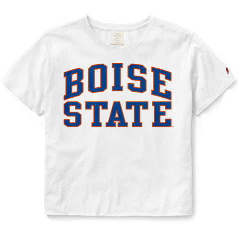 Boise State Broncos Women's White Clothesline Cotton Crop Tee