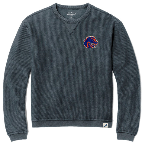 Boise State Broncos Unisex Denim Timber Crew Corded Sweatshirt