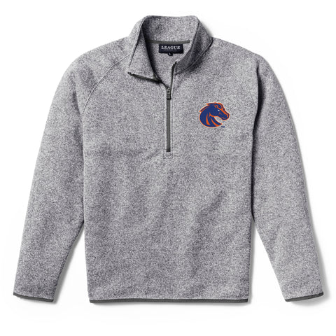 Boise State Broncos Men's Heather Grey Saranac 1/4 Zip Sweater