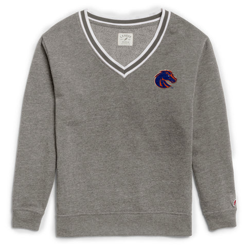 Boise State Broncos Women's Heather Grey Victory Springs V Crew