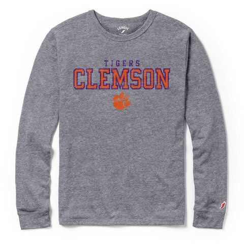 Clemson Tigers Men's Heather Grey Victory Falls Long Sleeve Tee