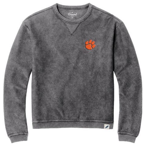 Clemson Tigers Graphite Timber Crew Corded Sweatshirt