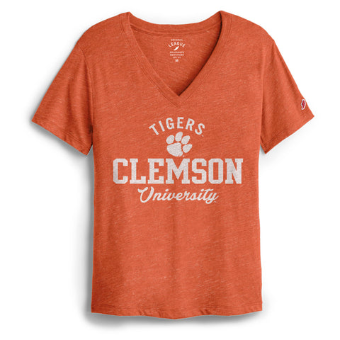 Clemson Tigers Women's Heather Orange Intramural Boyfriend V Tee