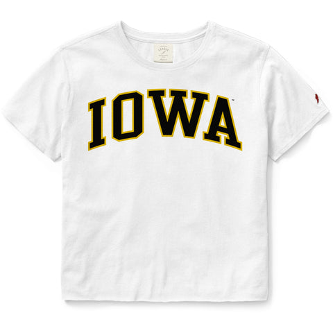 Iowa Hawkeyes Women's White Clothesline Cotton Crop Tee