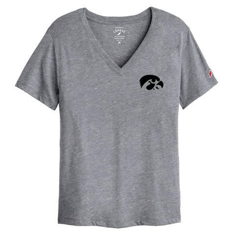 Iowa Hawkeyes Women's Heather Grey Intramural Boyfriend V Tee