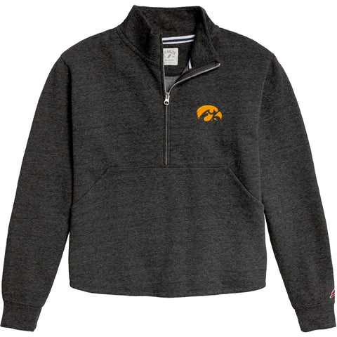 Iowa Hawkeyes Women's Heather Black Victory Springs Half Zip Pullover