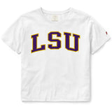 LSU Tigers Women's White Clothesline Cotton Crop Tee