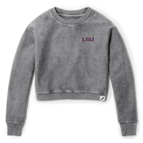 LSU Tigers Women's Graphite Timber Crop Crew