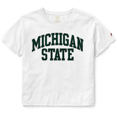 Michigan State Spartans Women's White Clothesline Cotton Crop Tee