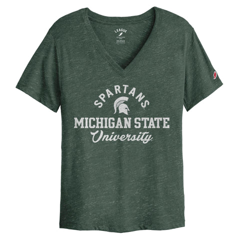 Michigan State Spartans Women's Heather Green Intramural Boyfriend V Tee