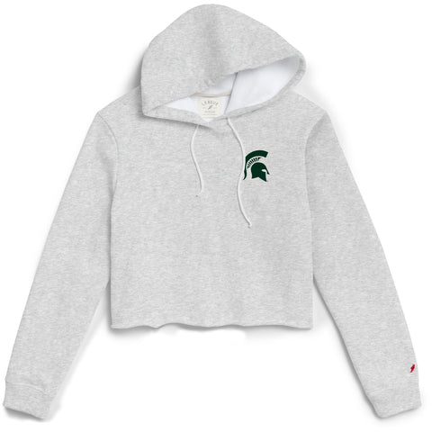 Michigan State Spartans Women's Ash Grey 1636 Cropped Sweatshirt