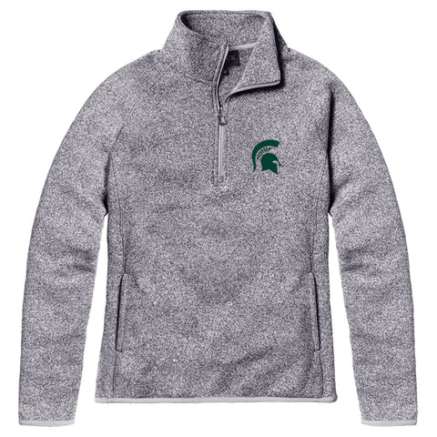 Michigan State Spartans Women's Heather Grey Saranac 1/4 Zip Sweater