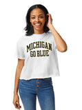 Michigan Wolverines Women's White Clothesline Cotton Crop Tee