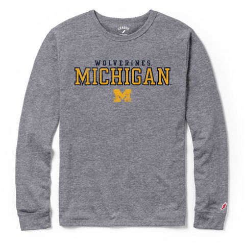 Michigan Wolverines Men's Heather Grey Victory Falls Long Sleeve Tee
