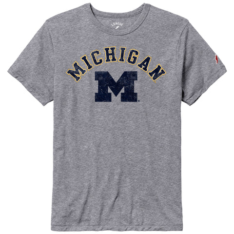 Michigan Wolverines Heather Gray Victory Falls Short Sleeve Tee