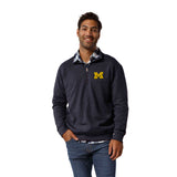 Michigan Wolverines Men's Heather Navy Heritage 1/4 Zip Sweatshirt