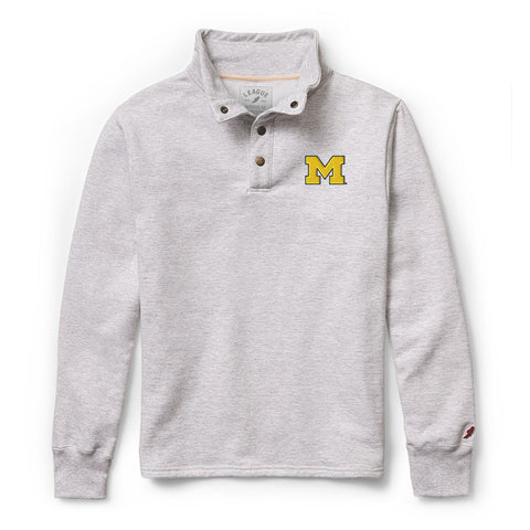 Michigan Wolverines Men's Ash Gray 1636 Snap Up Sweatshirt