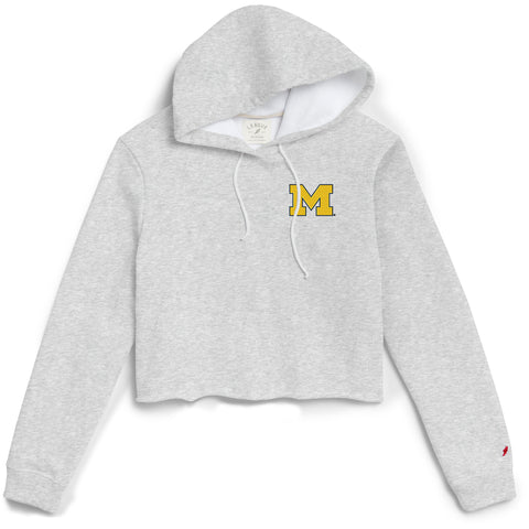 Michigan Wolverines Women's Ash Gray 1636 Cropped Sweatshirt