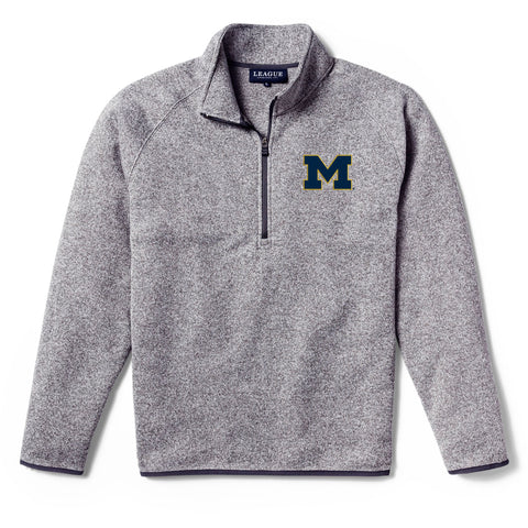 Michigan Wolverines Men's Heather Gray Saranac 1/4 Zip Sweater