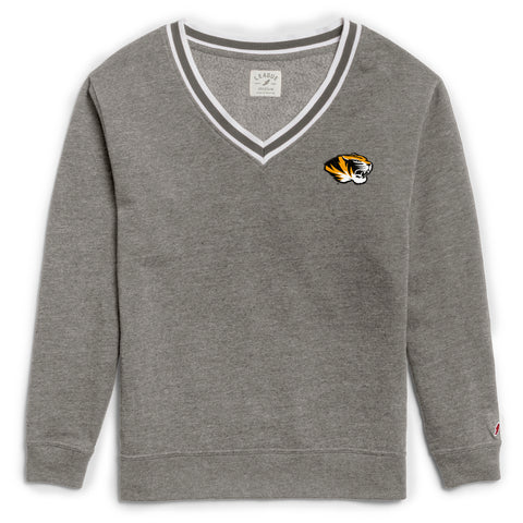 Missouri Tigers Women's Heather Grey Victory Springs V Crew