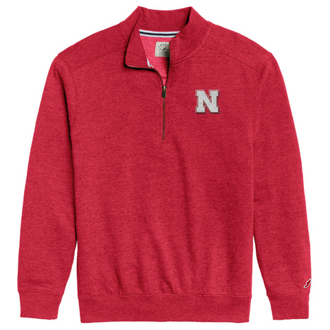 Nebraska Cornhuskers Men's Heather Red Heritage 1/4 Zip Sweatshirt