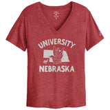 Nebraska Cornhuskers College Vault Women's Heather Red Intramural Boyfriend V Tee