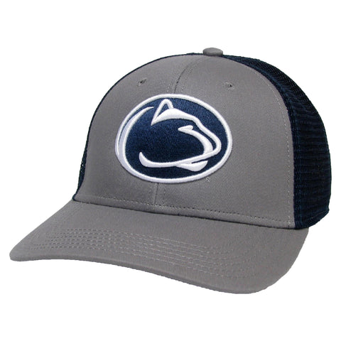 Pennsylvania State Nittany Lions Grey/Navy Mid-Pro Snapback Adjustable Trucker Hat