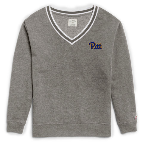 Pittsburgh Panthers Women's Heather Grey Victory Springs V Crew