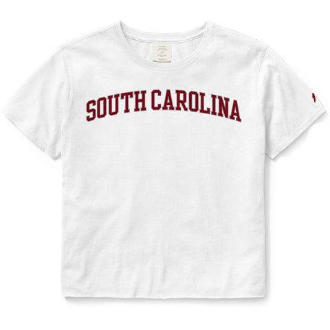 South Carolina Gamecocks Women's White Clothesline Cotton Crop Tee