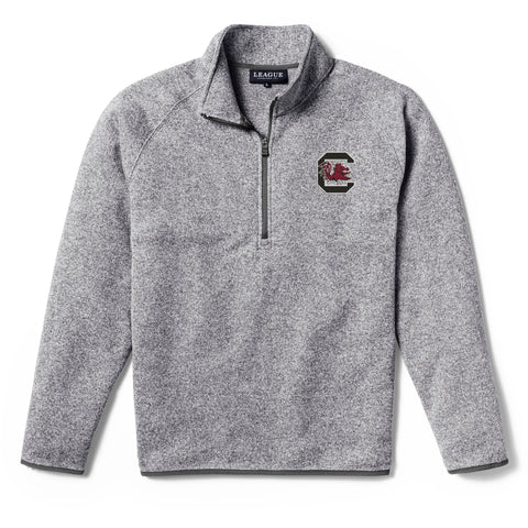 South Carolina Gamecocks Men's Heather Grey Saranac 1/4 Zip Sweater