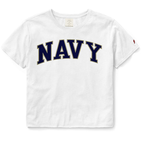 Navy Midshipmen Women's White Clothesline Cotton Crop Tee