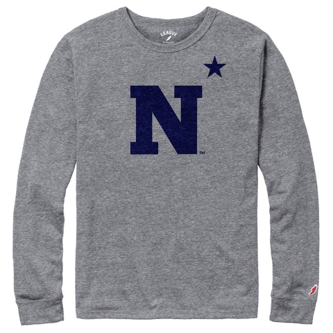 Navy Midshipmen Men's Heather Grey Victory Falls Long Sleeve Tee